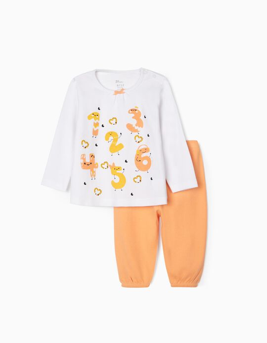 Pijama para Bebé Niña 'Numbers', Blanco/Naranja
