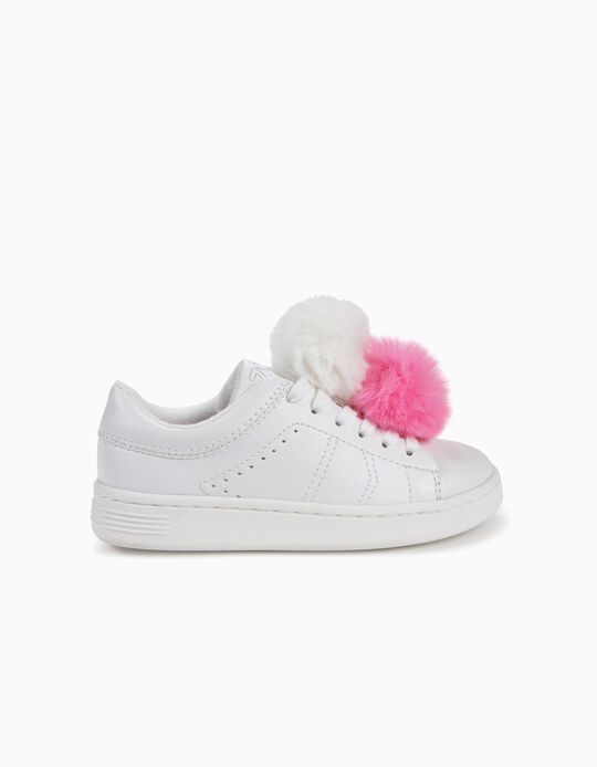 Sneakers for Girls 'ZY' with Pom poms, White
