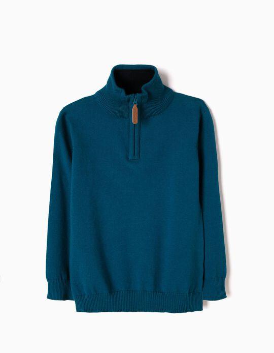 Camisola Malha com Meio-Fecho Azul
