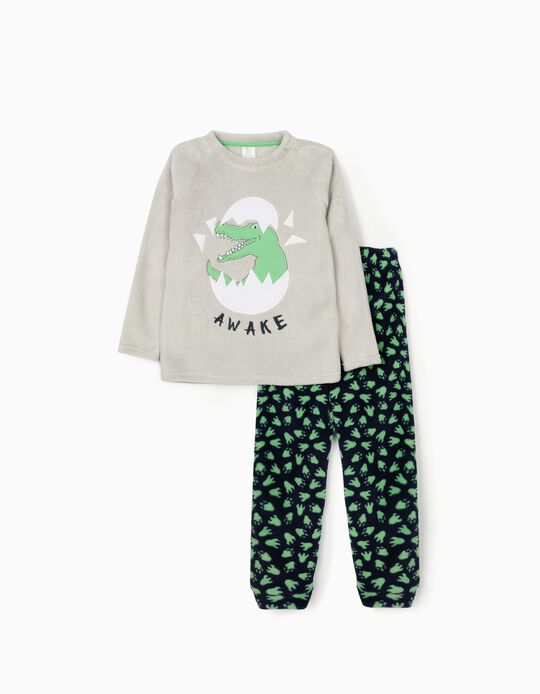 Minky Fabric Pyjamas for Boys 'Dino Awake', Grey/Blue