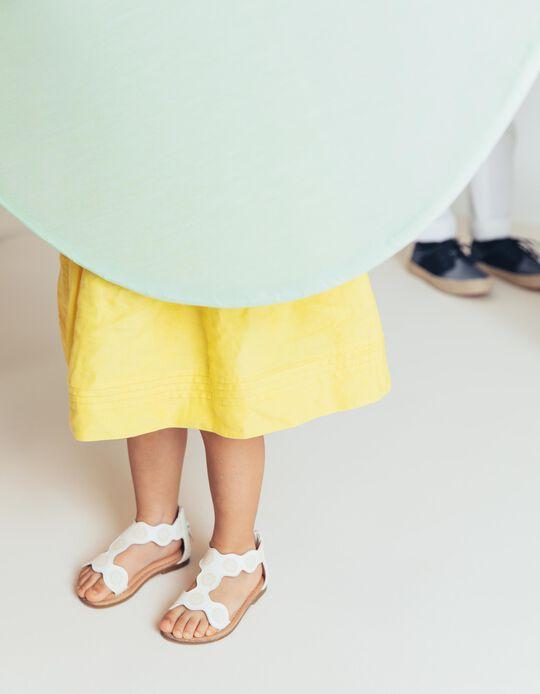 Sandalias para Bebé Niña con Flores, Blancas