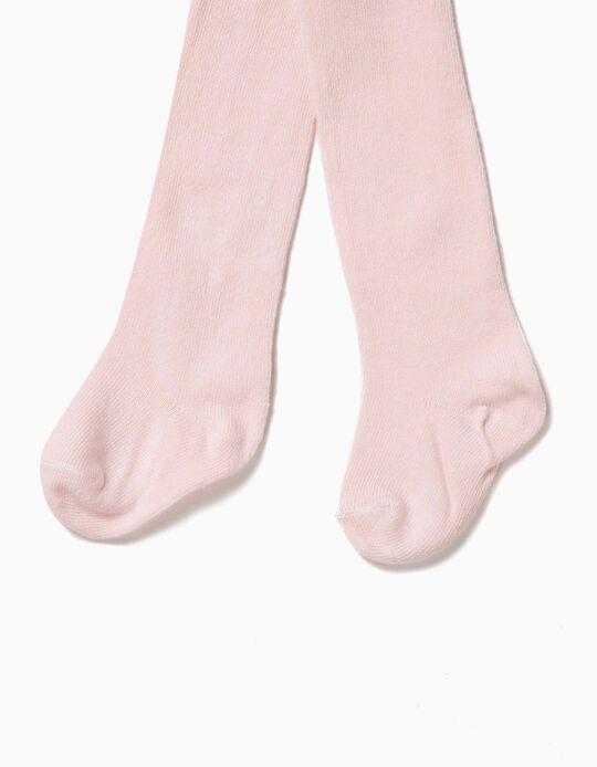 High-Waist Knit Tights for Newborn, Pink