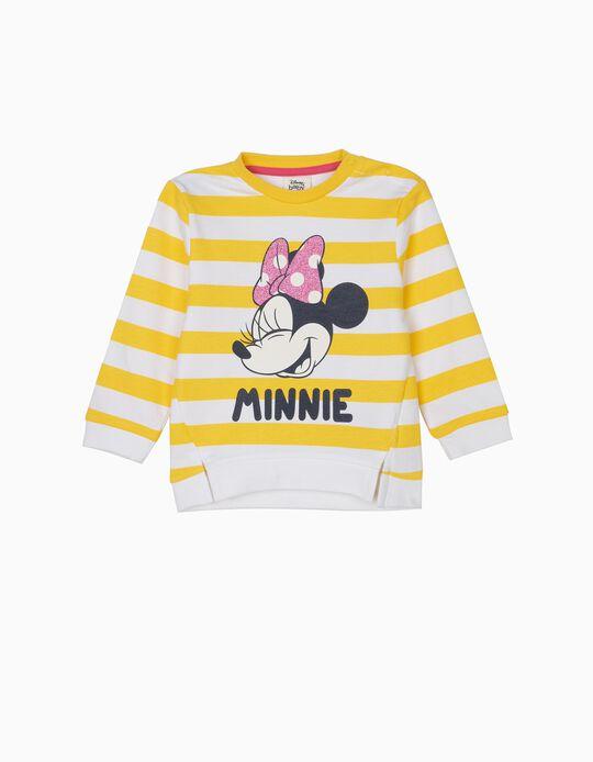 Sweatshirt para Bebé Menina 'Minnie' com Riscas, Amarelo