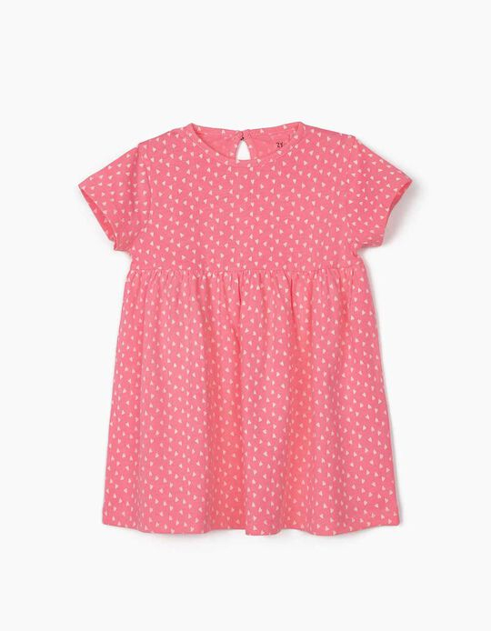 Jersey Knit Dress for Baby Girls, 'Hearts', Pink