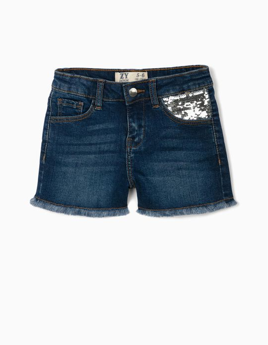 Denim Shorts with Sequins for Girls, Blue