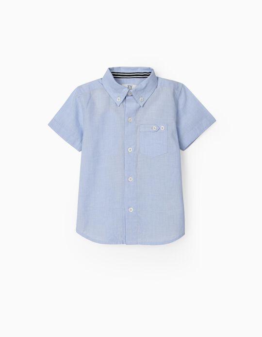Short Sleeve Shirt for Baby Boys, Light Blue