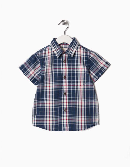 Camisa Manga Curta para Bebé Menino 'Xadrez', Azul