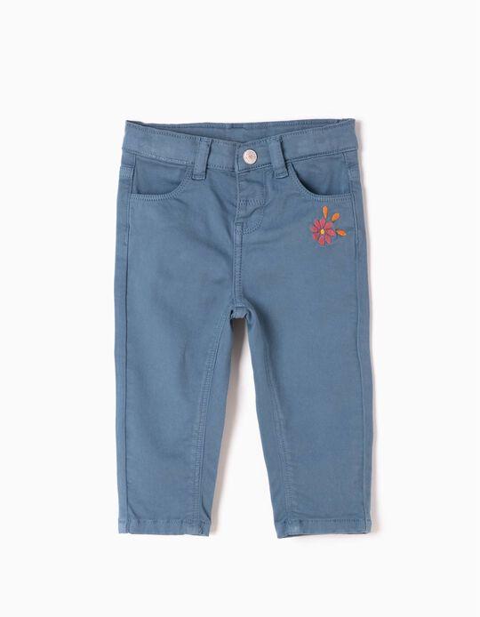 Pantalón de Sarga Flor Azul