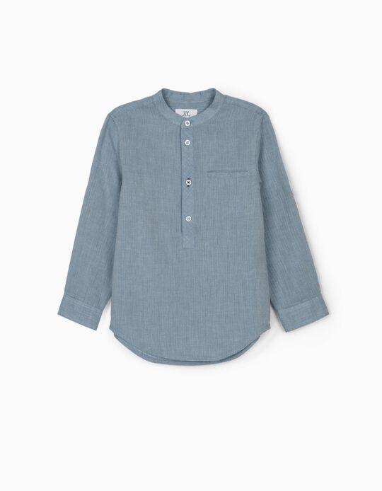 Herringbone Shirt for Boys, Blue