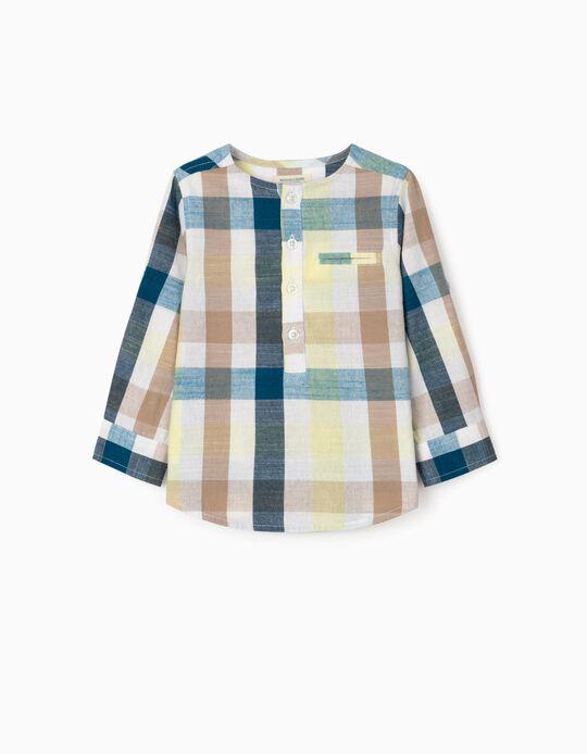 Camisa Ajedrez para Bebé Niño 'B&S', Azul/Amarillo