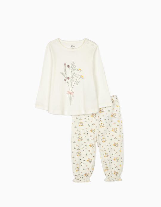 Long Sleeve Pyjamas for Baby Girls, 'Flowers', White