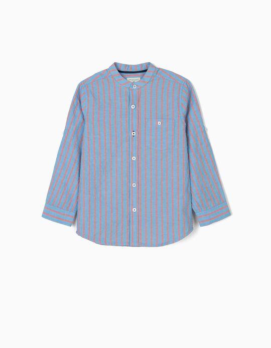 Camisa para Niño 'B&S' con Cuello Mao, Azul