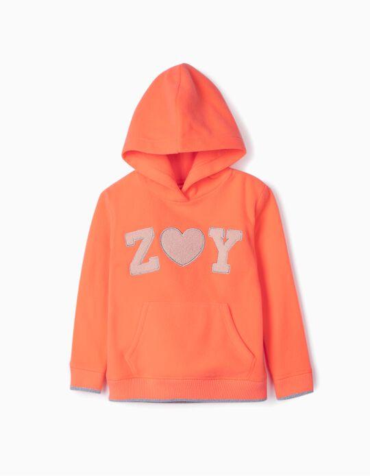 Sweatshirt Polar com Capuz para Menina 'ZY', Laranja Néon