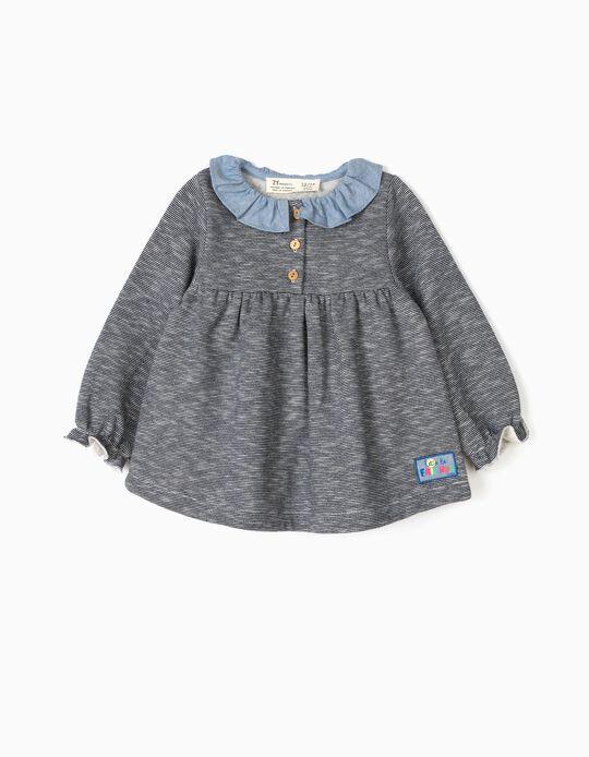 Sweatshirt para Bebé Menina 'Zig Zag' e Folhos, Azul
