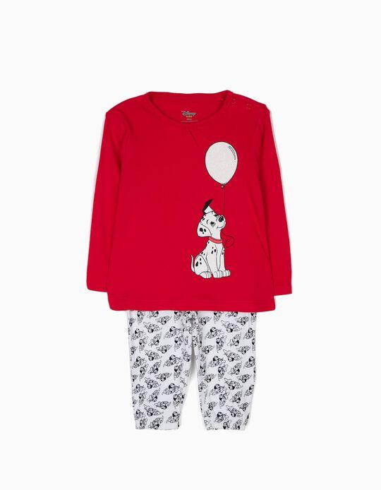 Pijama Manga Larga y Pantalón 101 Dálmatas Rojo y Blanco
