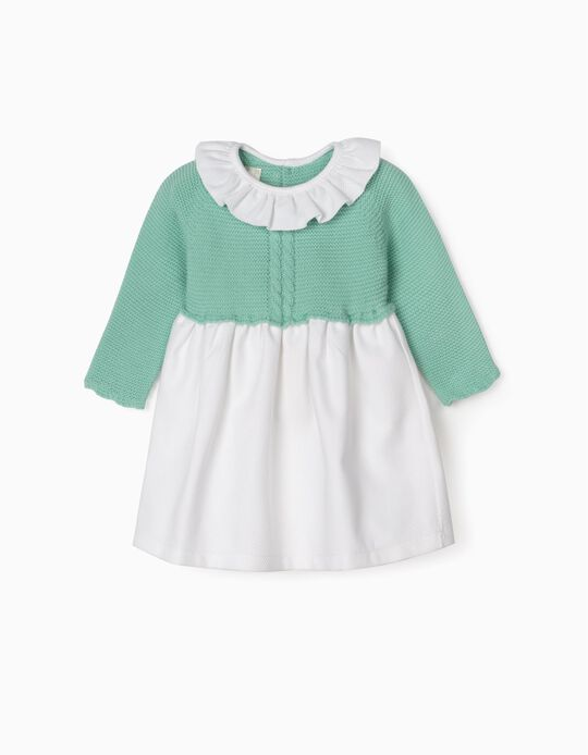 Dual Fabric Dress for Newborn Baby Girls, Aqua Green/White