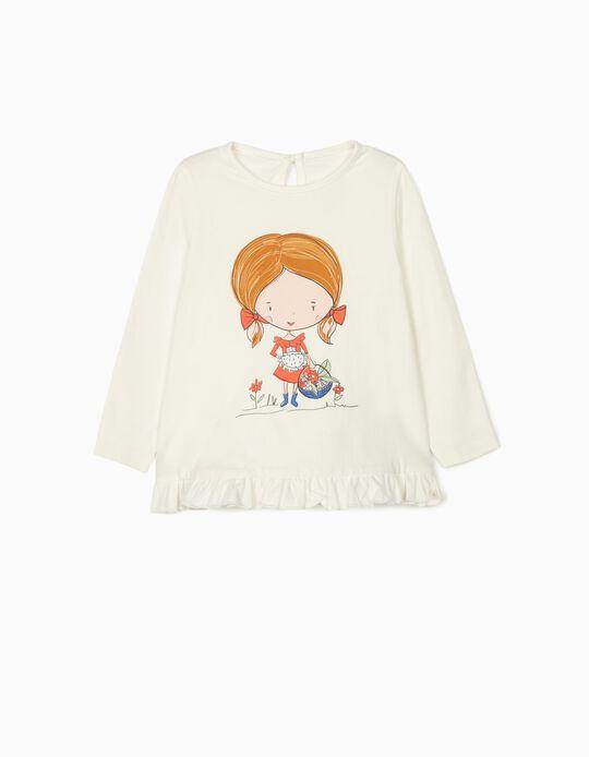 Camiseta de Manga Larga para Bebé Niña 'Flower Girl', Blanca