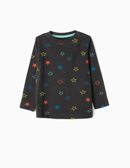 Camiseta de Manga Larga para Bebé Niño 'Stars', Gris Oscuro