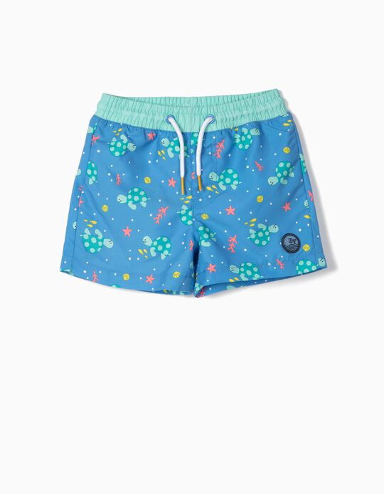 Bañador Short para Bebé Niño 'Turtles' Anti-UV 80, Azul