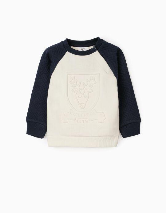 Camisola para Bebé Menino 'Deer', Branco/Azul Escuro
