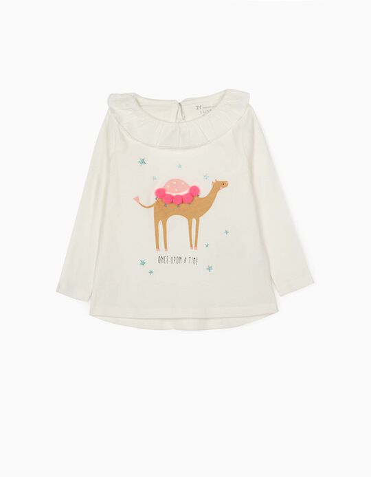 Long Sleeve Top for Baby Girls, 'Once Upon a Time', White