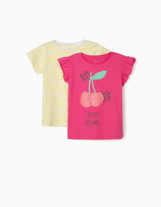 2 T-shirts for Girls, 'Fun in the Sun', Pink/Yellow/White