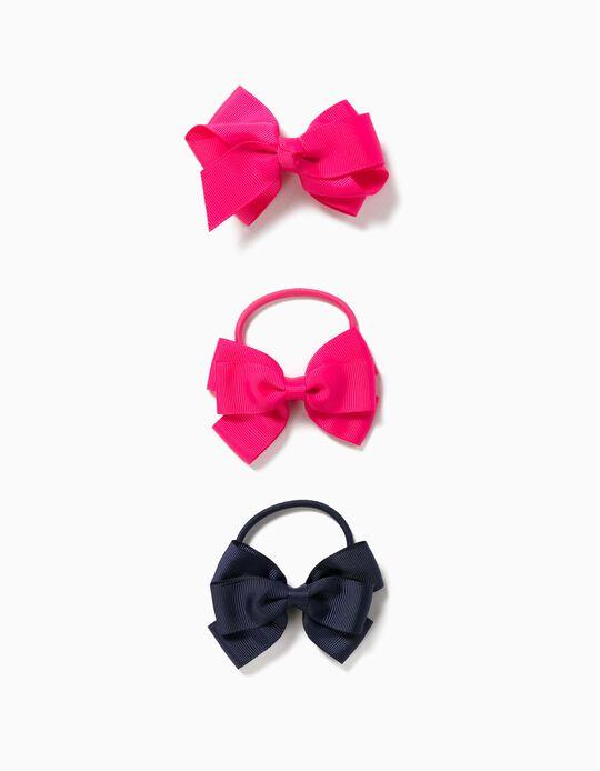 Hair Slide + 2 Bobbles with Bow for Girls, Pink/Dark Blue