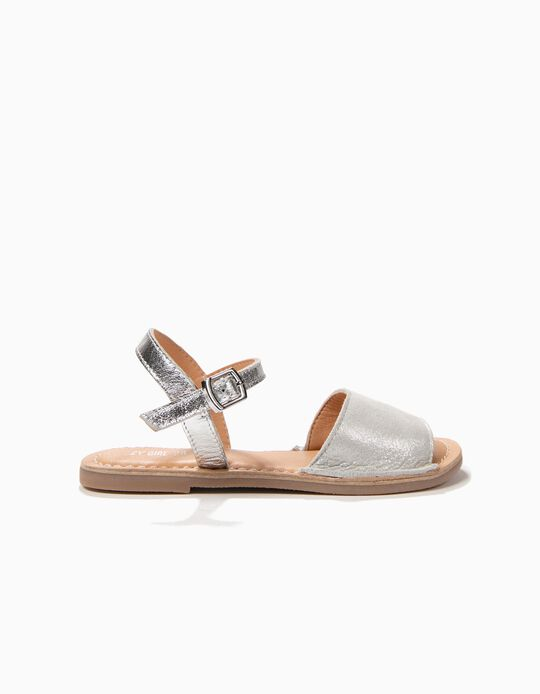 Menorcan Leather Sandals for Girls, Silver