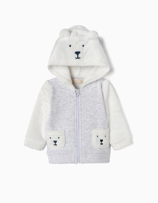 Casaco Combinado para Recém-Nascido ' Teddy Bear', Branco e Cinza