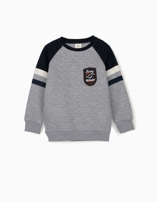 Sweatshirt for Boys, 'Fishing Club', Grey
