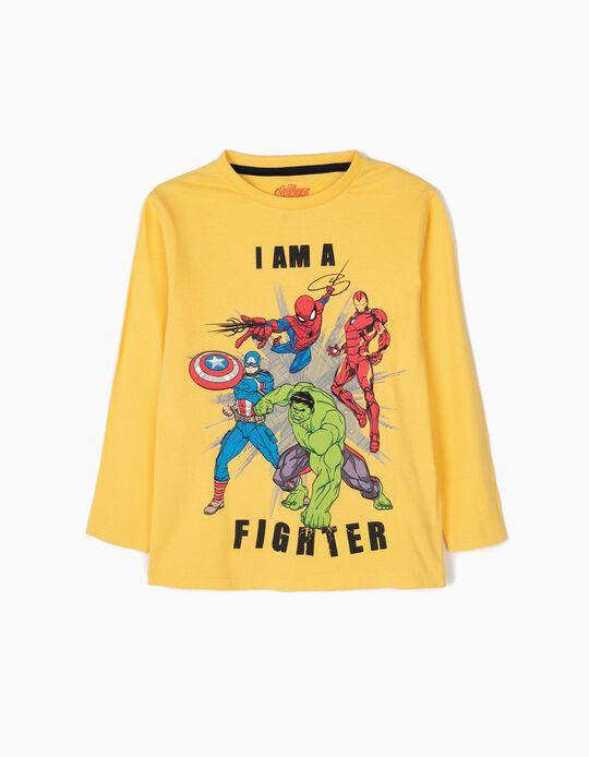 T-shirt Manga Comprida Avengers Amarela