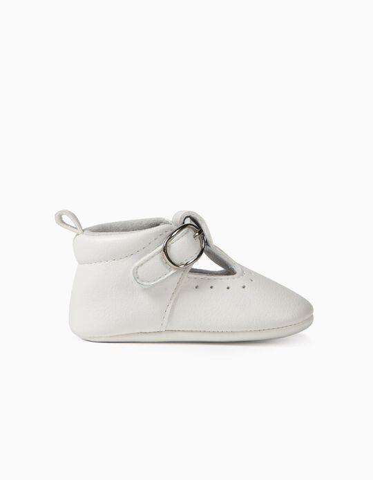 Zapatos con Hebilla para Recién Nacida, Blancos