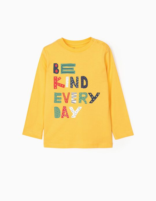 Camiseta de Manga Larga para Bebé Niño 'Be Kind', Amarillo