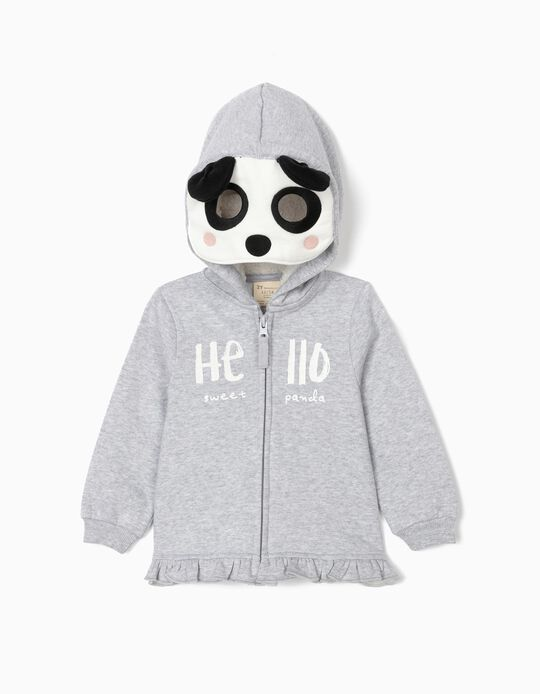 Hooded Jacket with Mask for Baby Girls, Grey