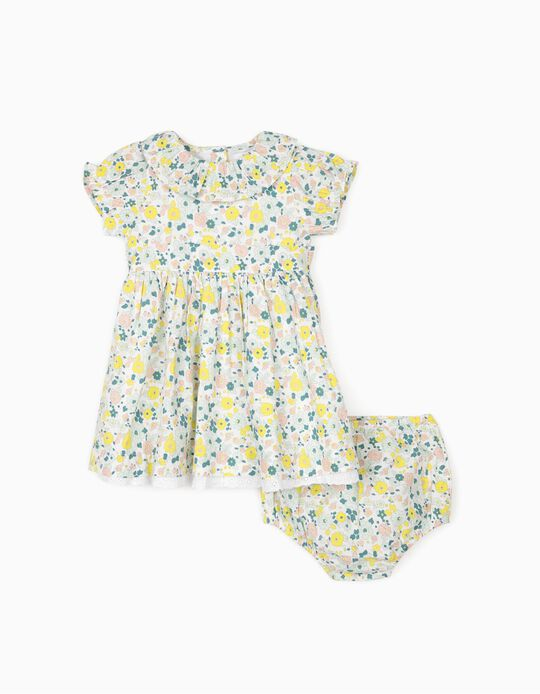 Floral Dress with Bloomer Shorts for Baby Girls, White