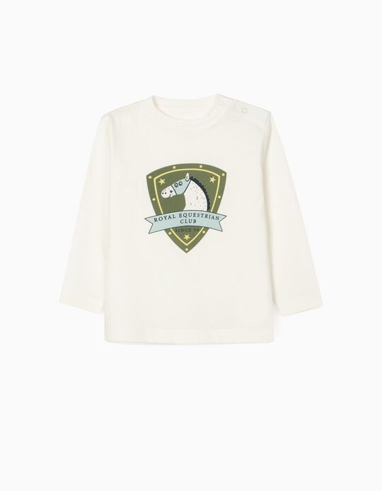 T-Shirt de Manga Comprida para Bebé Menino 'Royal Equestrian', Branco