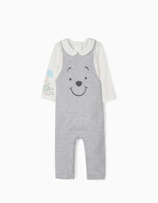 Jumpsuit and Bodysuit for Newborn Babies, 'Winnie the Pooh', Grey/White