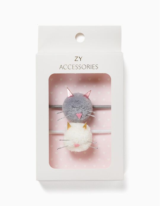 2 Gomas del Pelo para Niña 'Cute Cats', Gris/Blanco