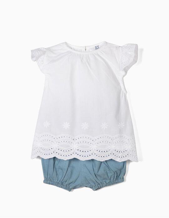 Blusa y Short para Recién Nacida, Blanco y Azul