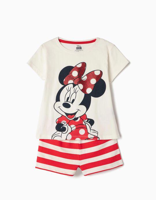 T-shirt et short fille 'Minnie', blanc et rouge
