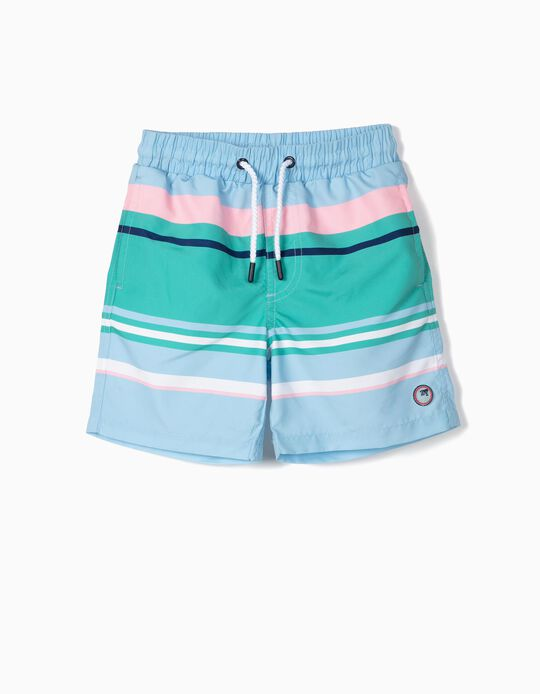 Bañador Short para Niño a Rayas Anti-UV 80, Multicolor