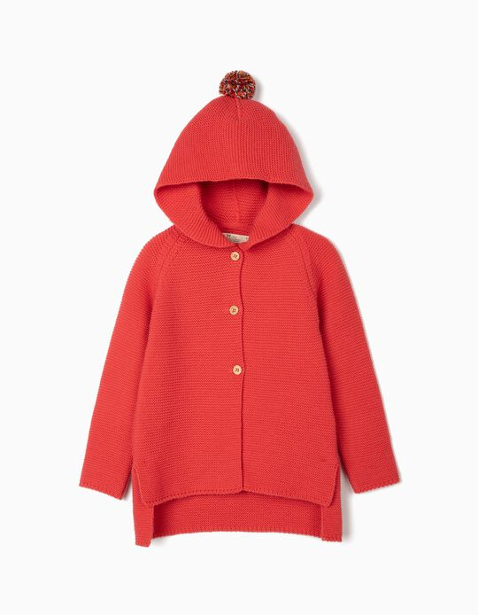 Hooded Cardigan for Girls, Pink