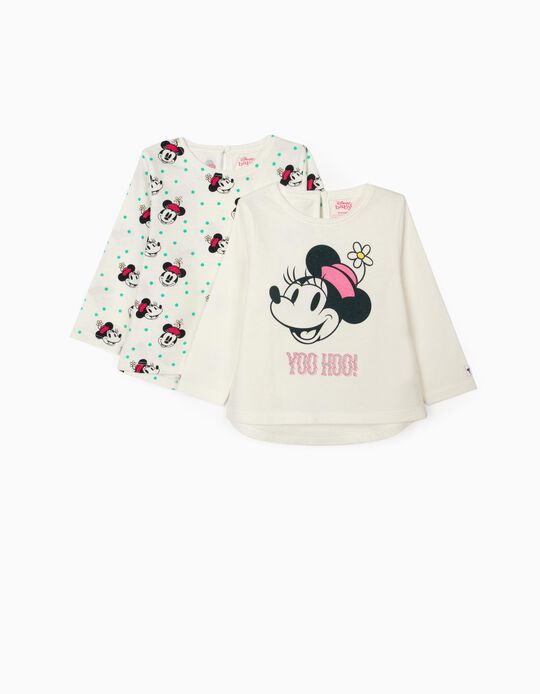 2 T-Shirts Manga Comprida para Bebé Menina 'Minnie Yoo Hoo', Branco