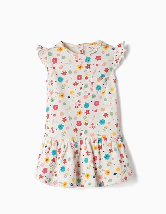 Vestido de Punto para Bebé Niña 'Flores', Blanco