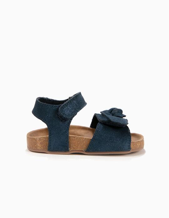 Sandálias de Camurça para Bebé Menina com Laço, Azul Escuro
