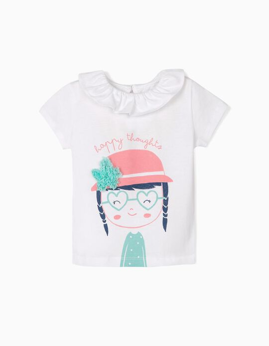 T-shirt for Baby Girls 'Happy Thoughts', White
