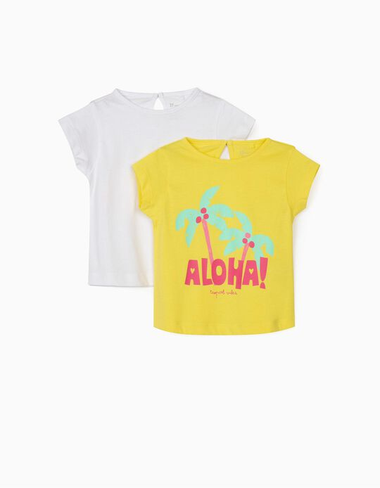 2 T-shirts for Baby Girls, 'Aloha', Yellow/White