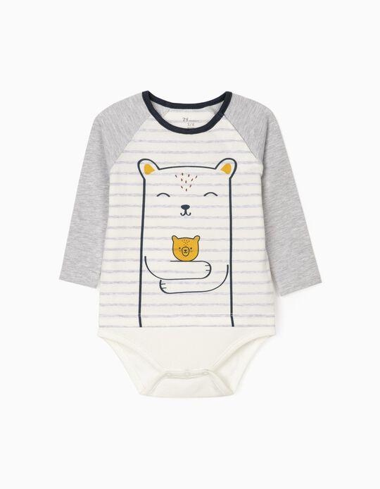 Jumper-Bodysuit for Newborn Baby Boys, White/Grey