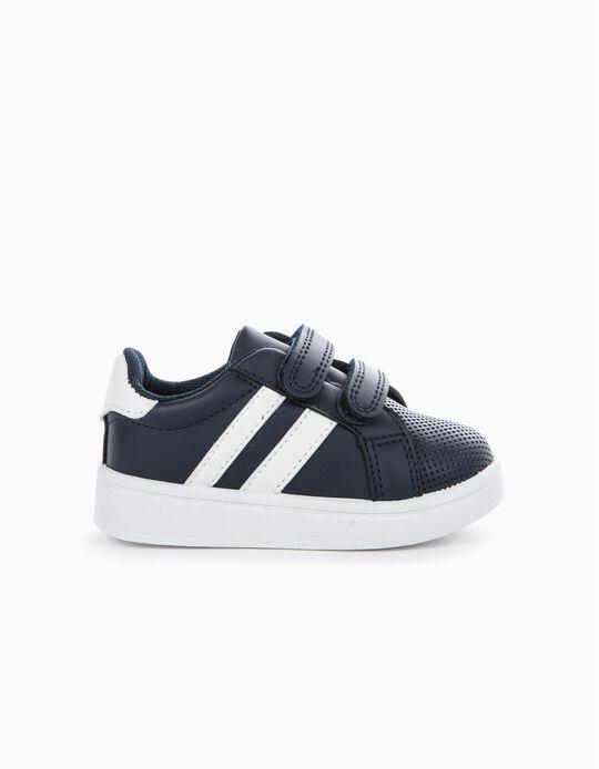 Zapatillas con Cierre Autoadherente Azules y Blancas