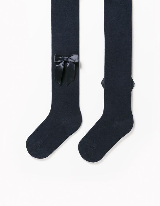 Fine Knit Tights with Bows for Baby Girls, Dark Blue
